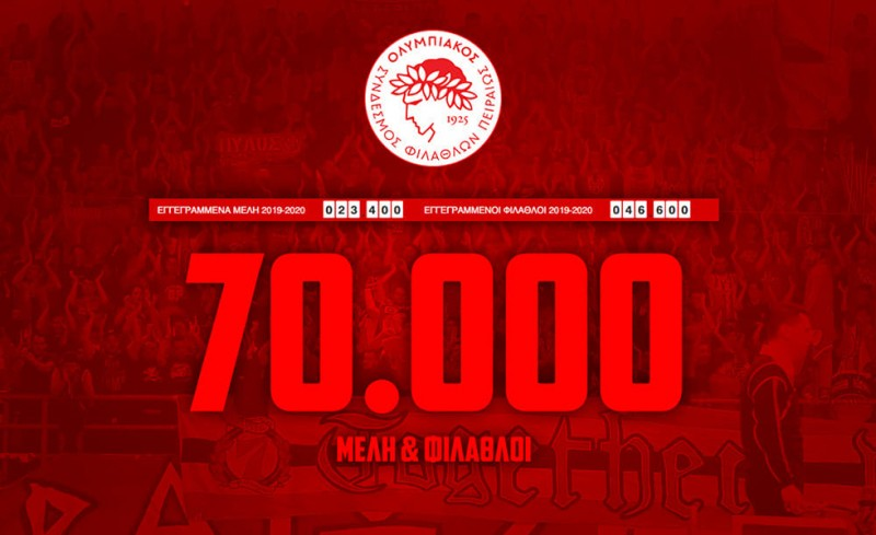 «70.000 Μέλη & Φίλαθλοι! Σας ευχαριστούμε και συνεχίζουμε»
